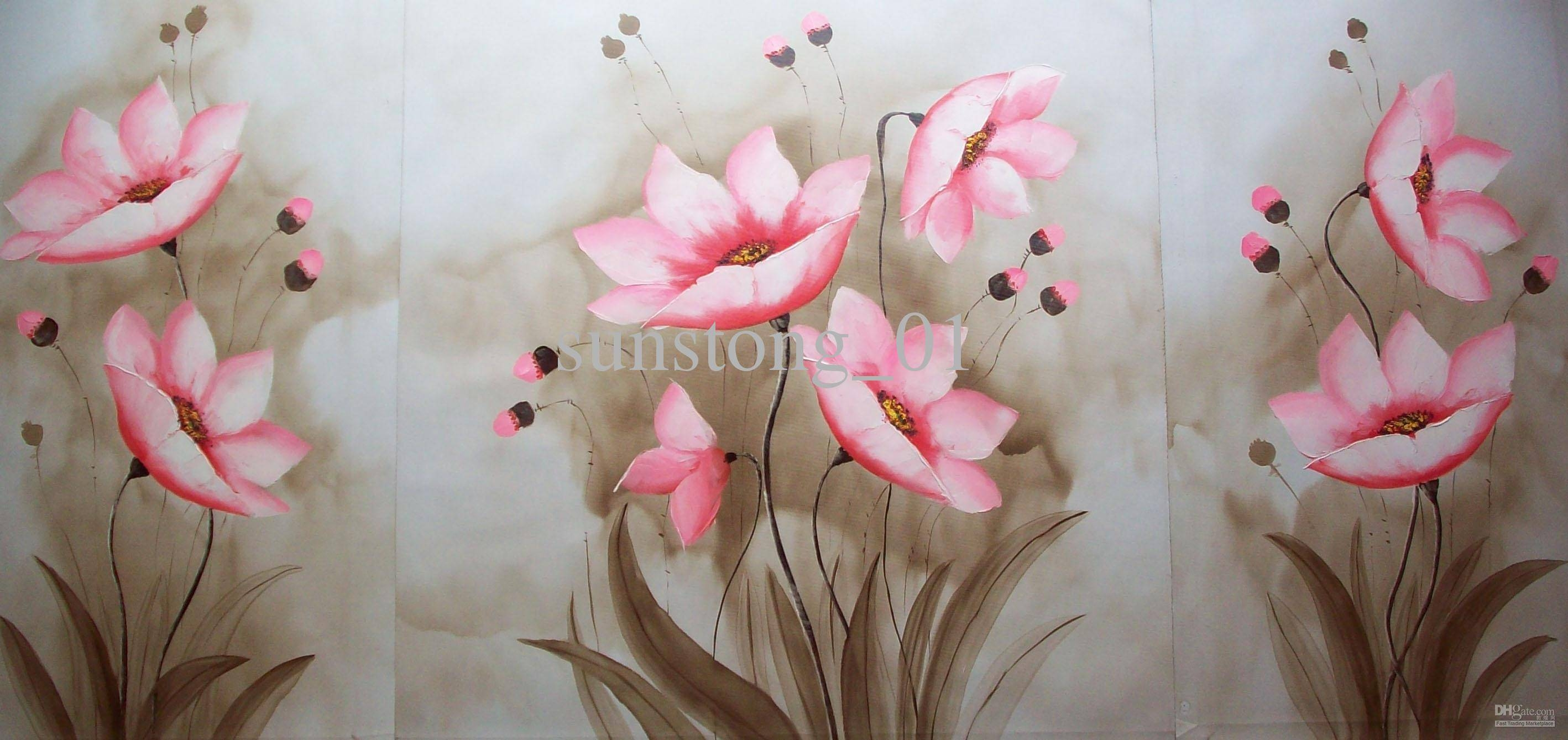 2018 Impression Group Oil Painting Nice Pink Flowers In Lake For Newest Pink Flower Wall Art (View 1 of 20)