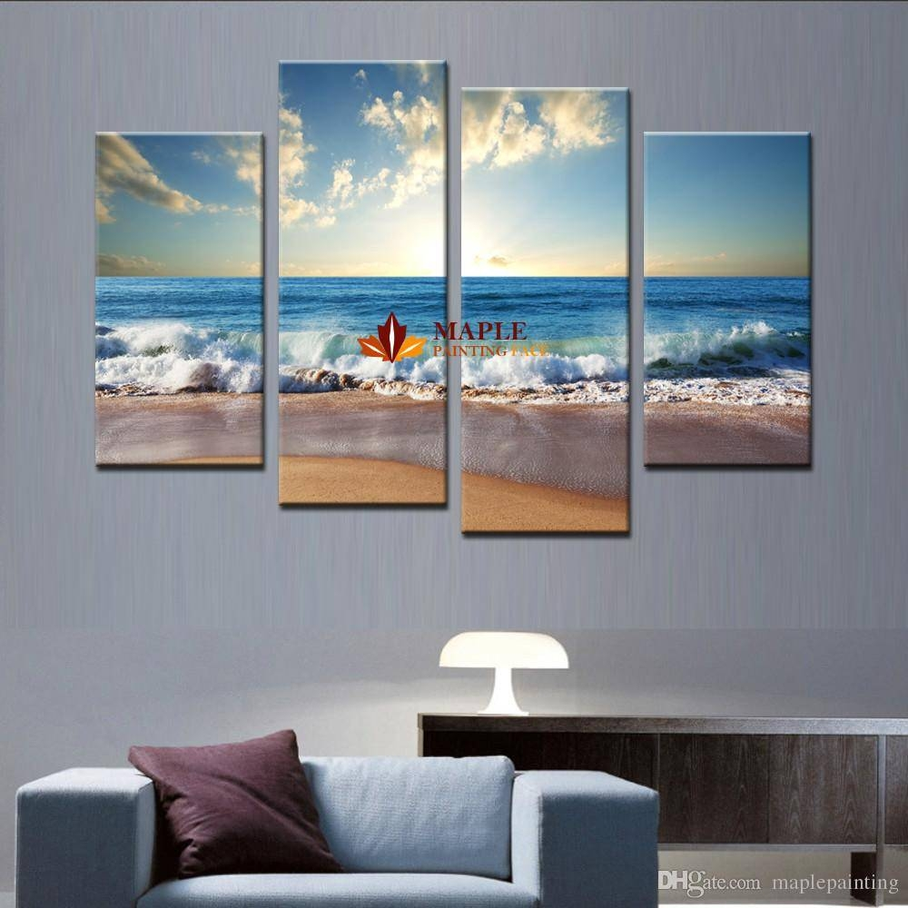 2018 Large Canvas Art Wall Hot Beach Seascape Modern Wall Painting In Most Recent Large Teal Wall Art (View 4 of 20)
