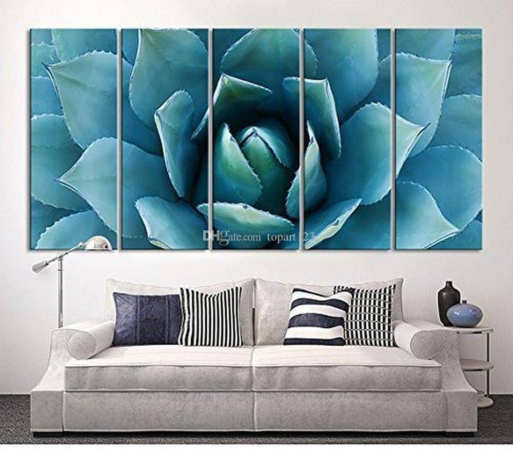 2018 Large Wall Art Blue Agave Canvas Prints Agave Flower Large In 2018 Large Teal Wall Art (View 2 of 20)