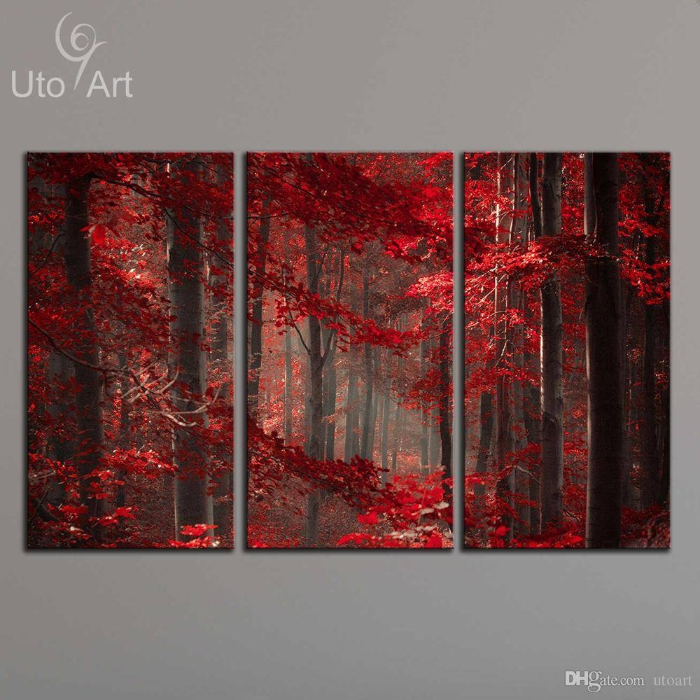 2018 Morden 3 Panel Wall Art Painting Red Enchanted Forest Giclee Inside 2018 Three Panel Wall Art (View 2 of 20)