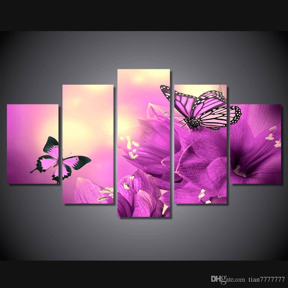 2018 New Elegant Purple Flowers And Butterfly Canvas Painting 5 For Current Butterfly Canvas Wall Art (Gallery 13 of 20)