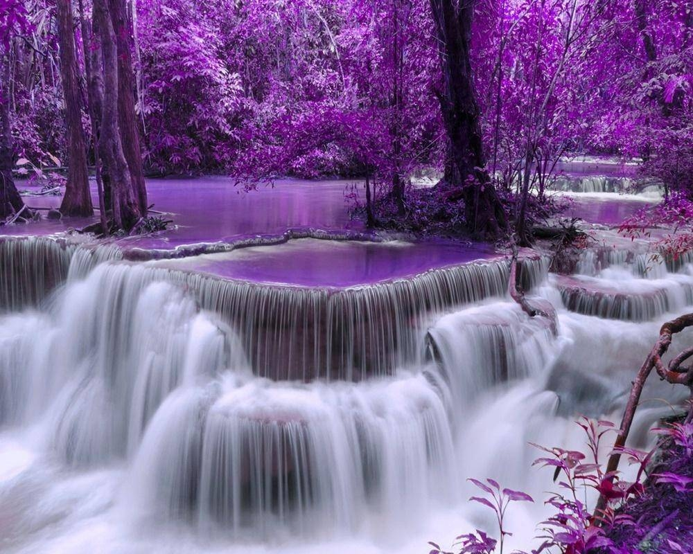 2018 Purple Waterfall Diy Diamond Painting Embroidery 5D Beauty Within Latest Waterfall Wall Art (View 1 of 20)