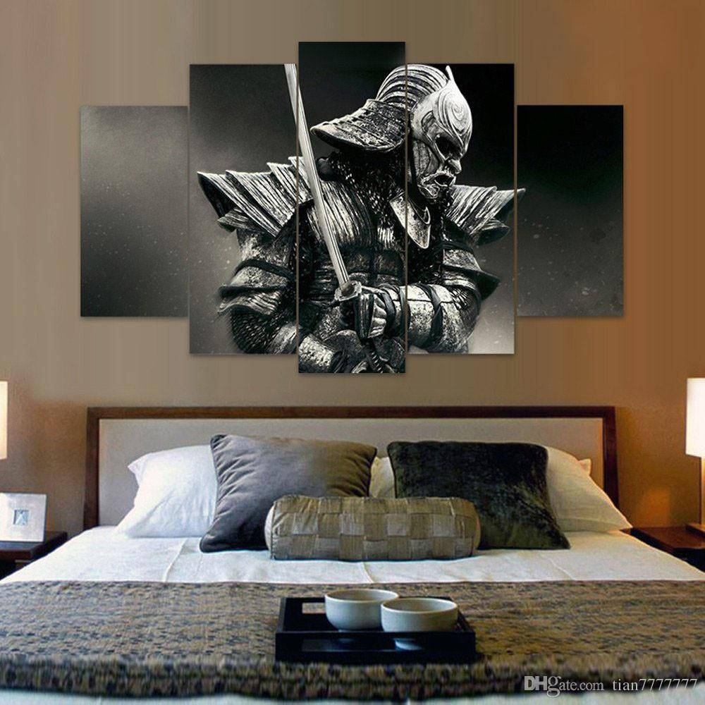 2018 Unframed 5 Panel Samurai Canvas Painting Fashion Home Decor Pertaining To 2018 Samurai Wall Art (View 1 of 20)