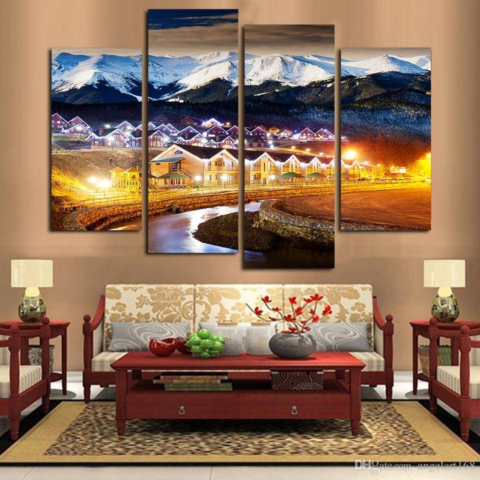 2018 Unframed Country Scenery Lighting Snow Print On Canvas Wall With Most Recently Released Country Canvas Wall Art (View 1 of 20)