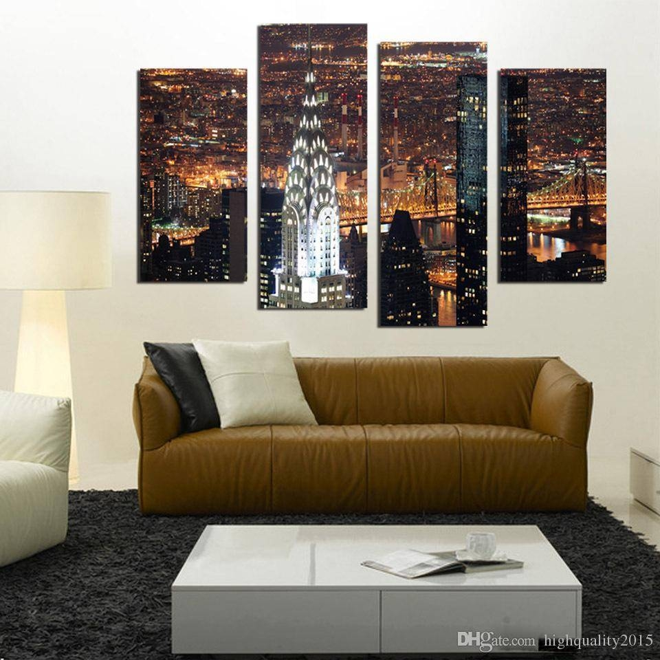 2018 Wall Art New York City Manhattan Usa With Lights In Nice In Newest 4 Piece Wall Art (View 1 of 15)