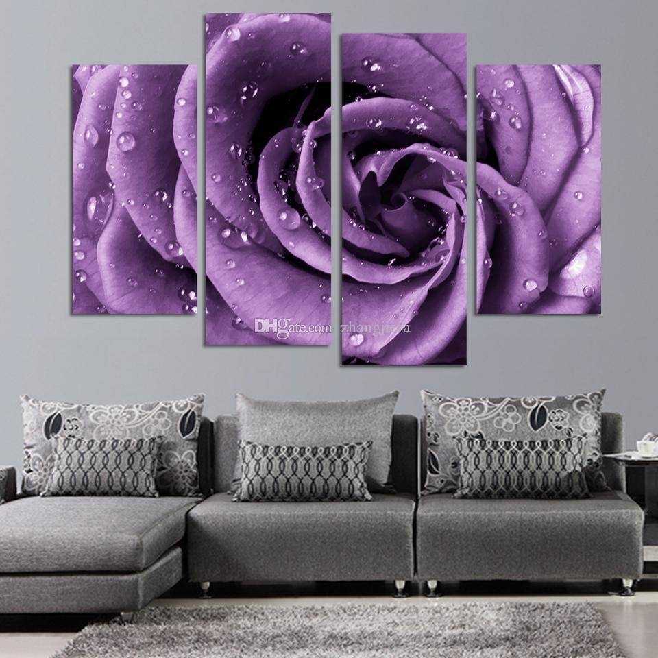 2018 Wall Art White Purple Lover Flower Big Perfect Canvas Wall Pertaining To Most Up To Date Purple Canvas Wall Art (View 11 of 20)