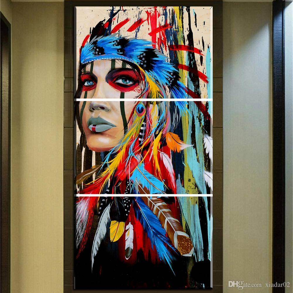 2018 Zz678 Beauty Art Canvas Painting Native American Indian Girl With Most Popular Native American Wall Art (View 3 of 25)
