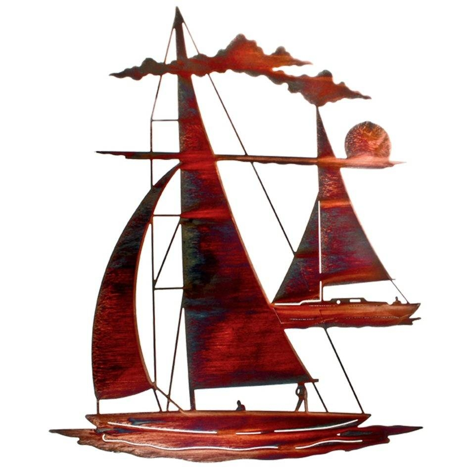 """24"""" Catch 'n Sail Floating Sailboat Metal Wall Art – Nautical Wall With Regard To Most Popular Metal Sailboat Wall Art (View 6 of 30)"""