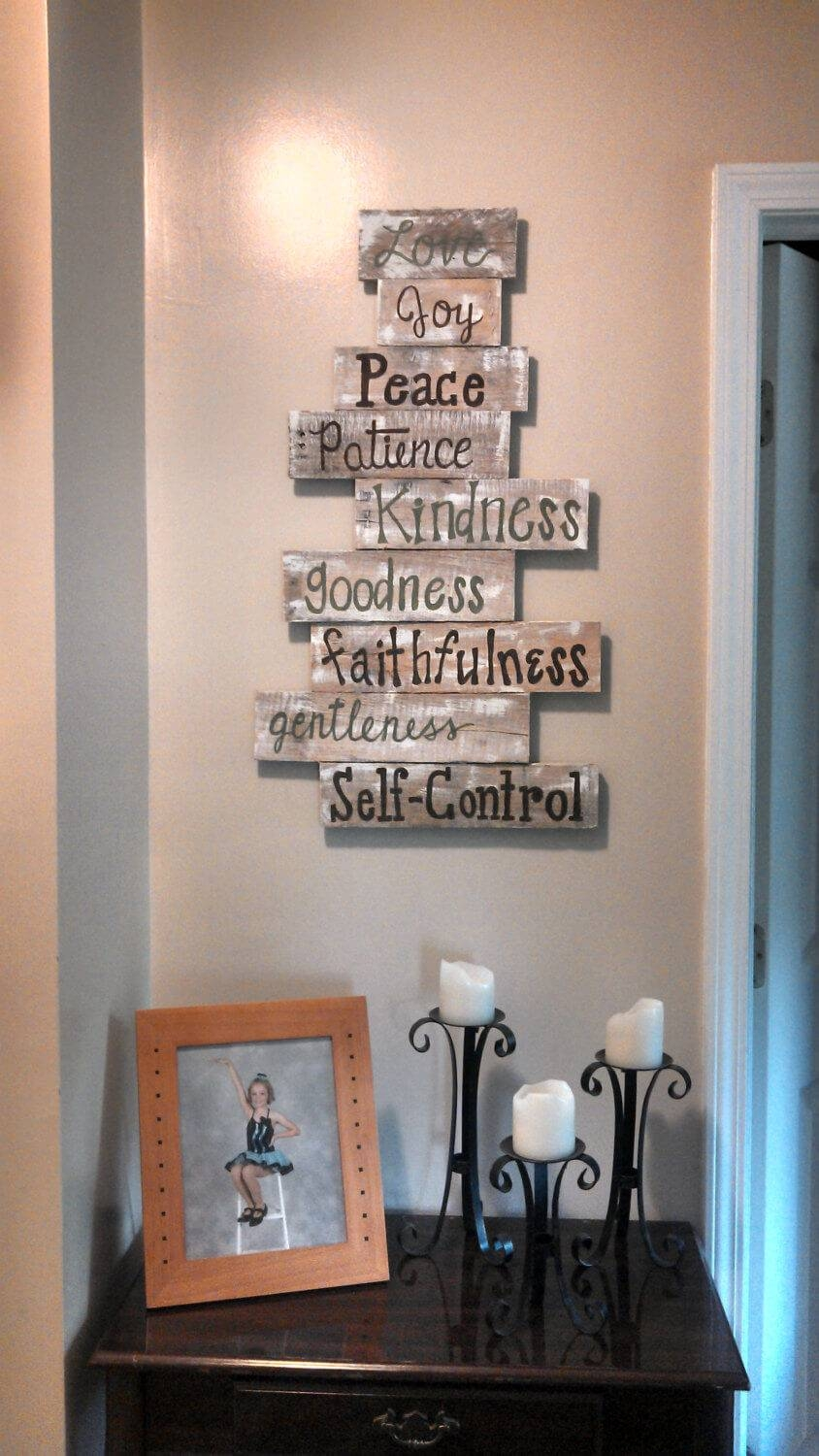 26 Best Rustic Wood Sign Ideas And Designs With Inspirational For Most Recently Released Fruit Of The Spirit Wall Art (View 1 of 30)