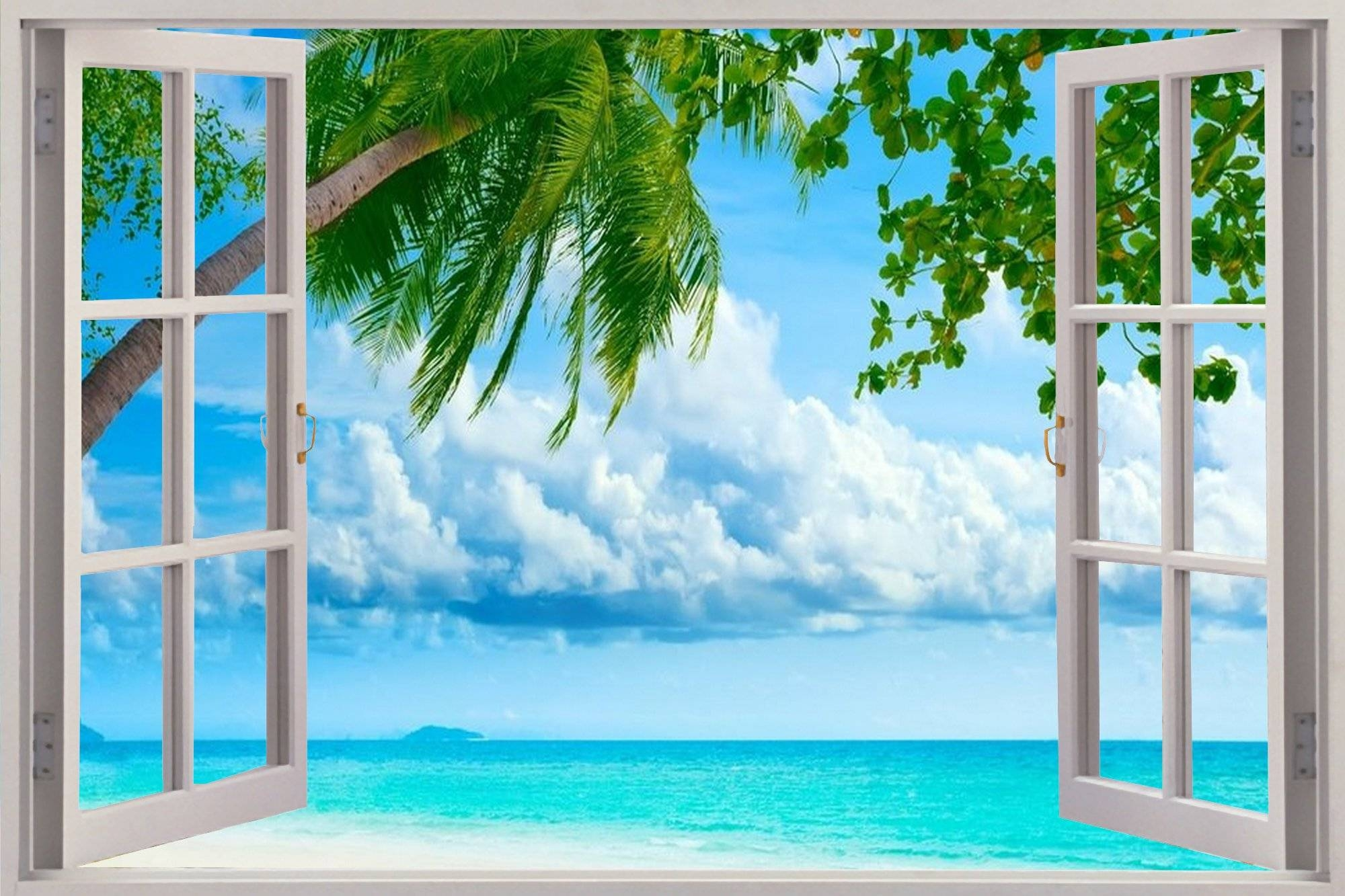 28+ [ Wall Mural Decals Beach ] | Huge 3D Window Exotic Beach View For Most Recent 3D Wall Art Window (View 1 of 20)