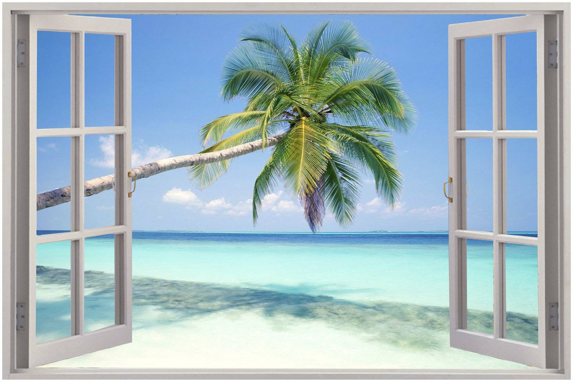 28+ [ Wall Mural Decals Beach ] | Huge 3d Window Exotic Beach View Intended For Recent 3d Wall Art Window (View 12 of 20)