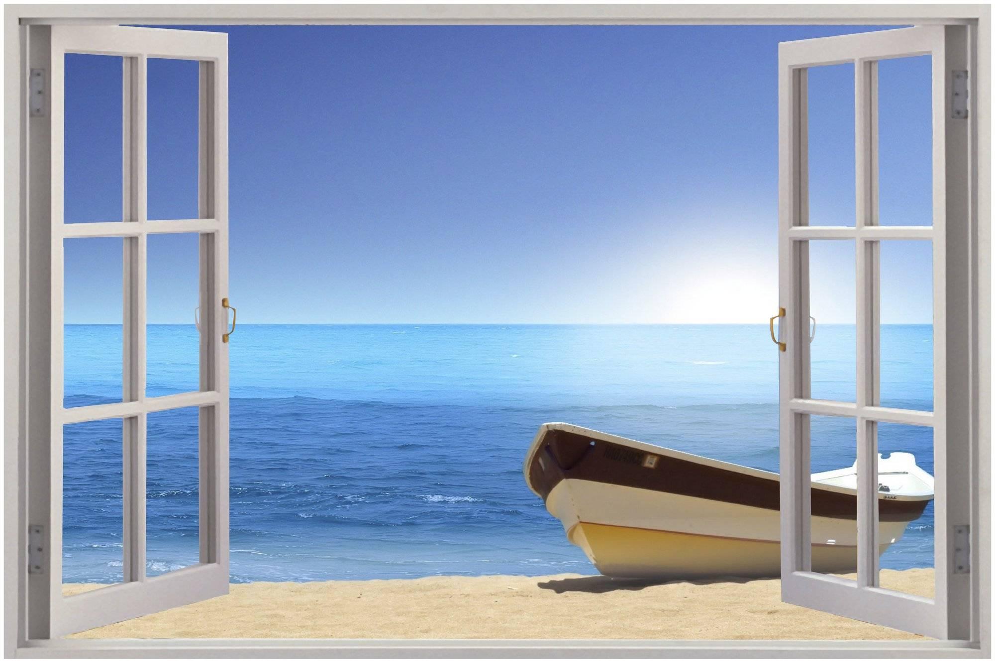 28+ [ Wall Mural Decals Beach ]   Huge 3D Window Exotic Beach View Regarding Most Up To Date Beach 3D Wall Art (View 2 of 20)