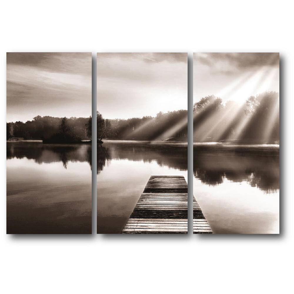 "3 24 In. X 36 In. Panels ""lake Dock"" 3 Multi Panel Gallery Wrapped Regarding Most Popular Multi Panel Canvas Wall Art (Gallery 17 of 20)"