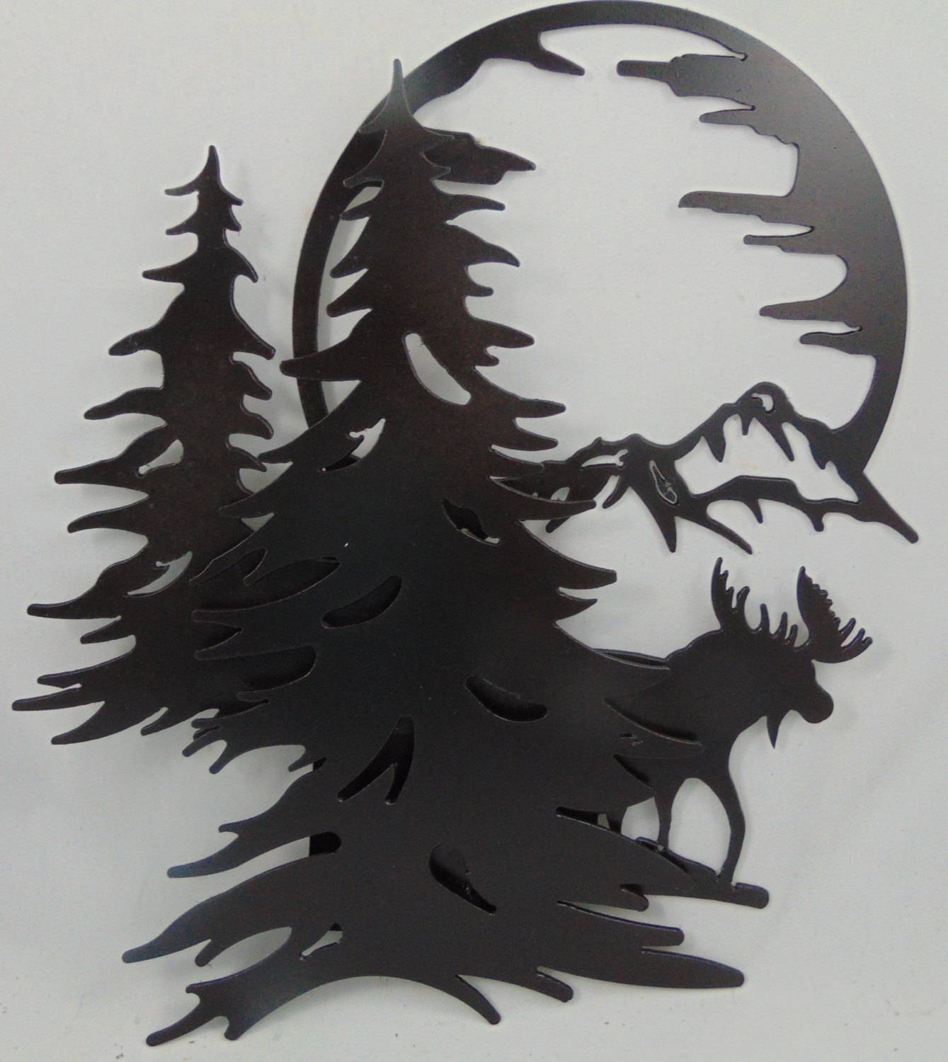 3 D Metal Moose Mountains Trees Moon Scene Wall Hanging / Inside Recent Bronze Tree Wall Art (View 1 of 25)