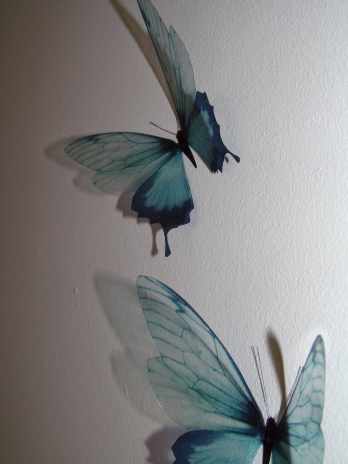 3 Luxury Amazing In Flight Duck Egg Blue Butterflies 3D With 2018 Duck Egg Blue Wall Art (View 1 of 20)