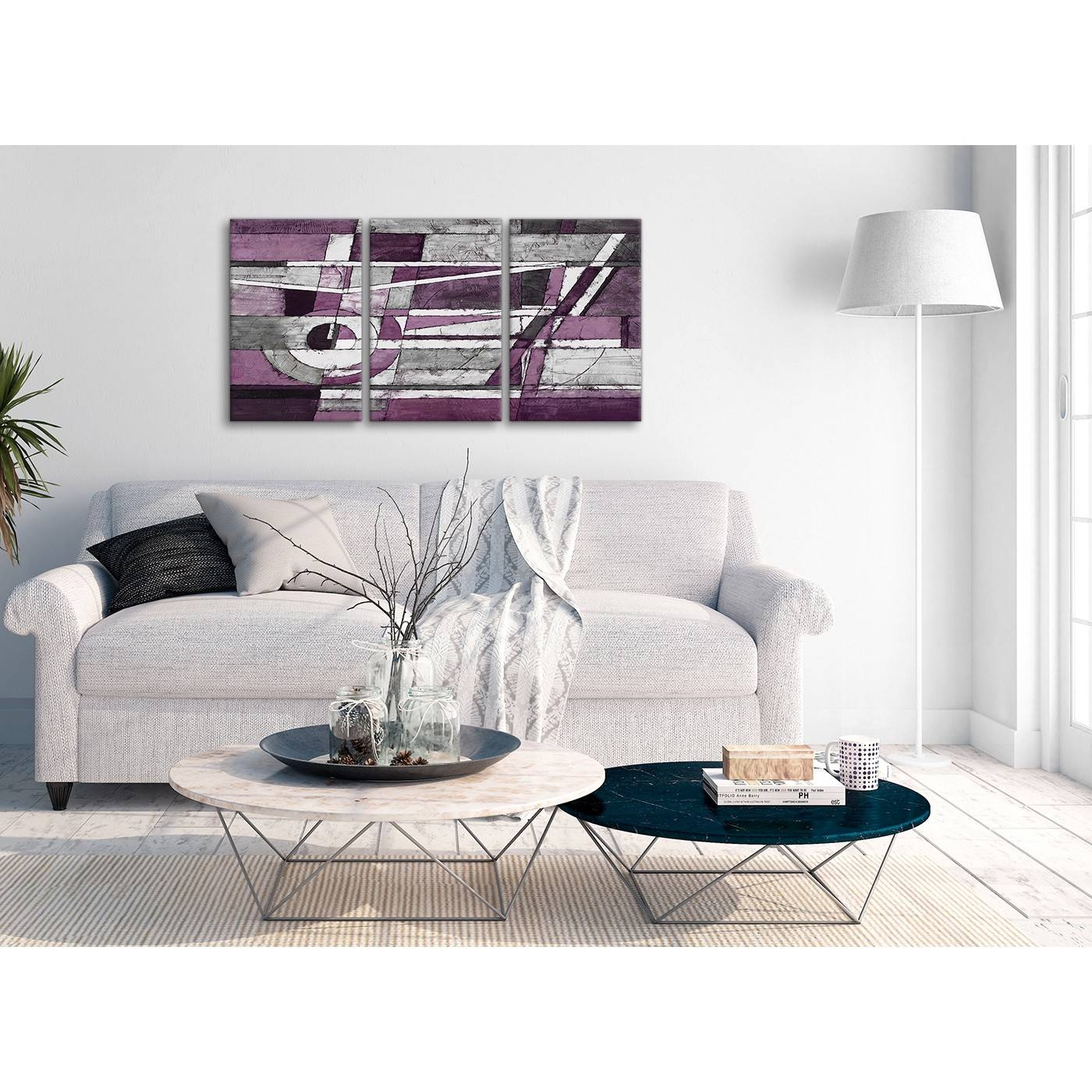 3 Panel Aubergine Grey White Painting Dining Room Canvas Wall Art In Most  Recent Aubergine Wall