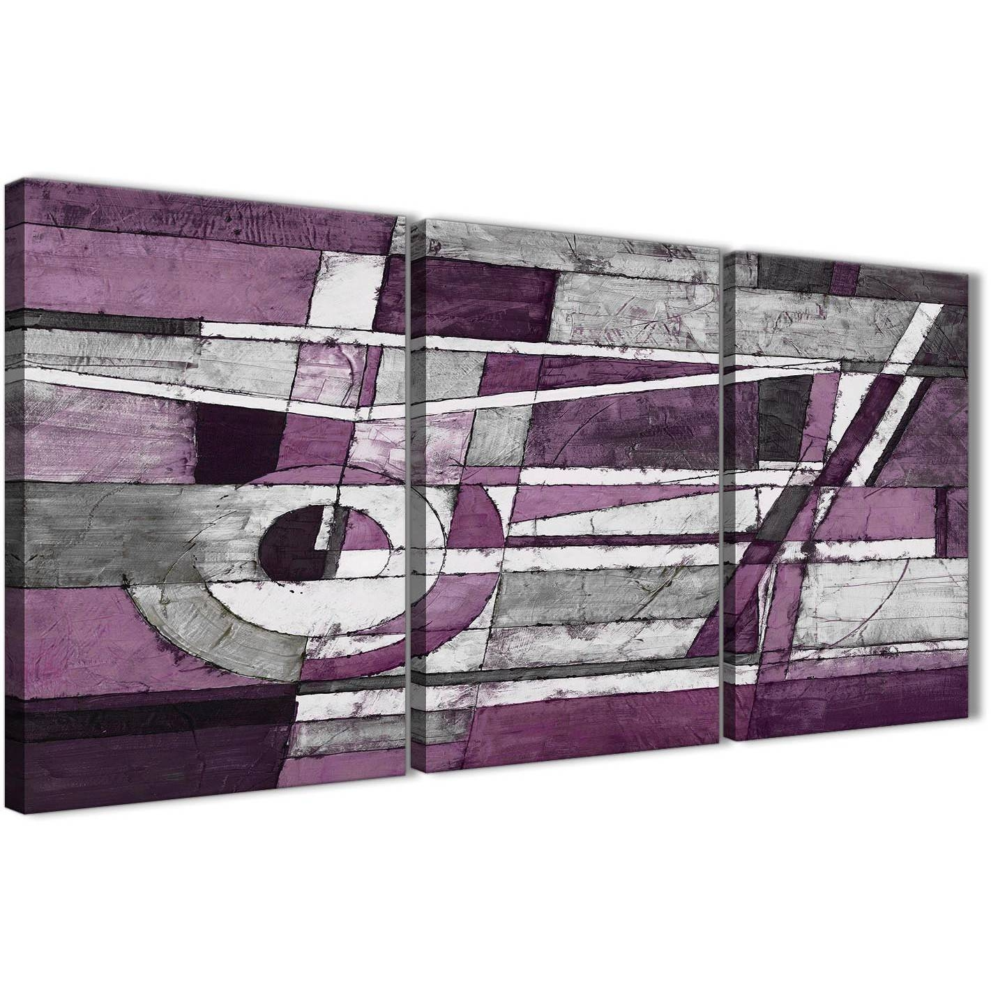 3 Panel Aubergine Grey White Painting Dining Room Canvas Wall Art Intended For 2017 Aubergine Wall Art (View 4 of 20)