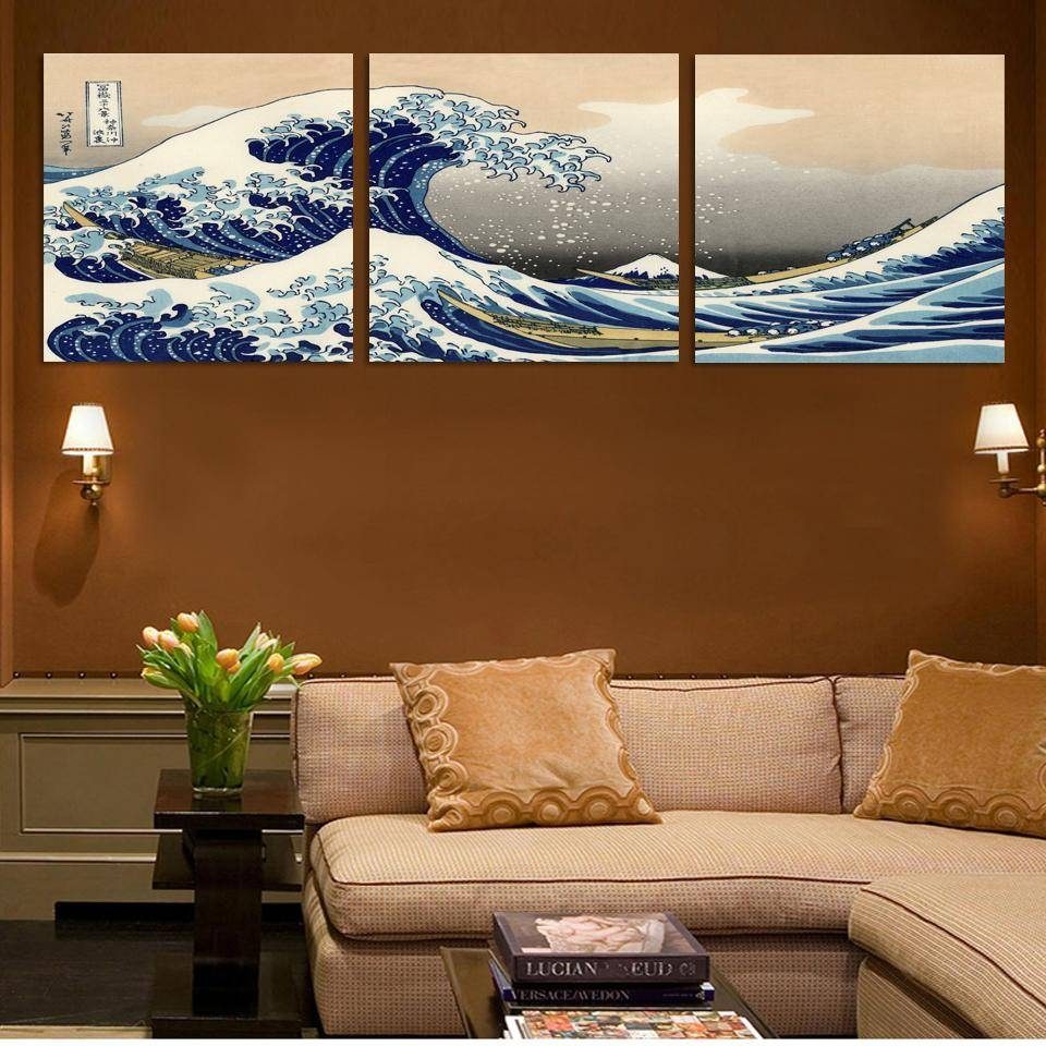 3 Panel Fashion Seascape Japanese Landscape Canvas Painting For Latest Japanese Wall Art Panels (View 1 of 25)