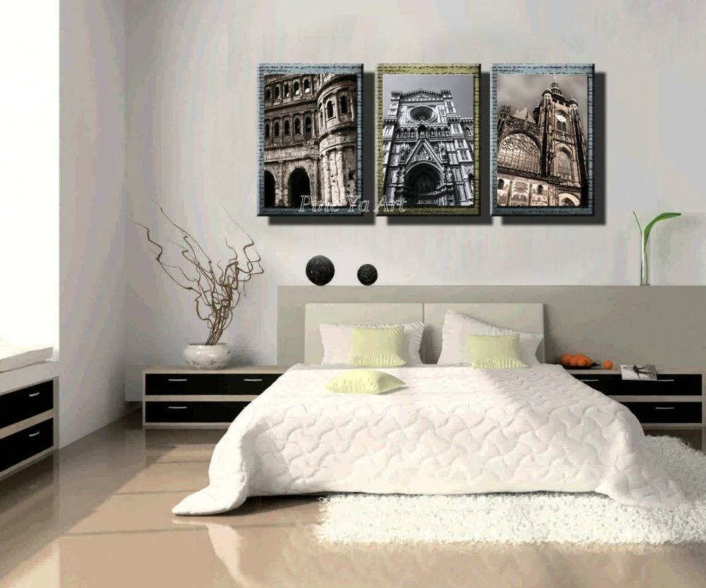 3 Panel Hd Print Cheap Black White Famous Building Abstract Modern In Latest Cheap Black And White Wall Art (View 19 of 20)
