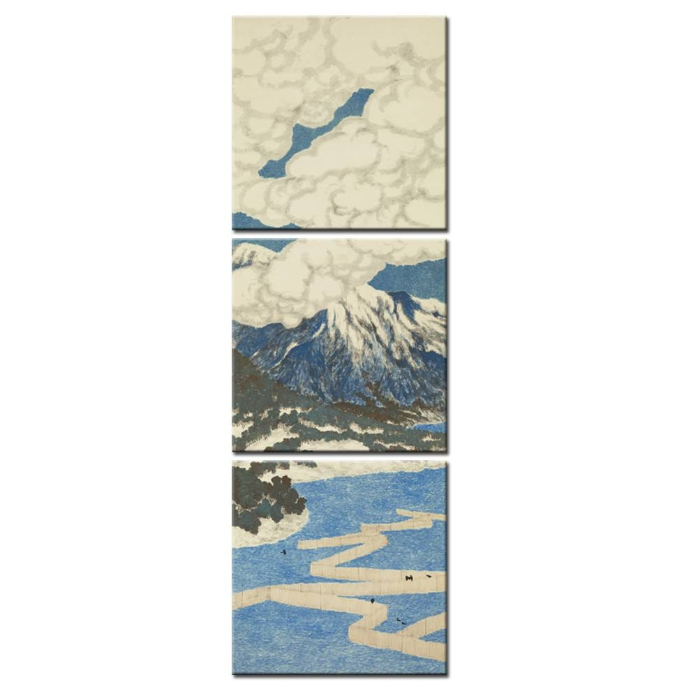 3 Panel Japanese Ukiyo E Seascape Wall Art Painting Mount Fuji Inside Most Up To Date Japanese Wall Art Panels (View 14 of 25)