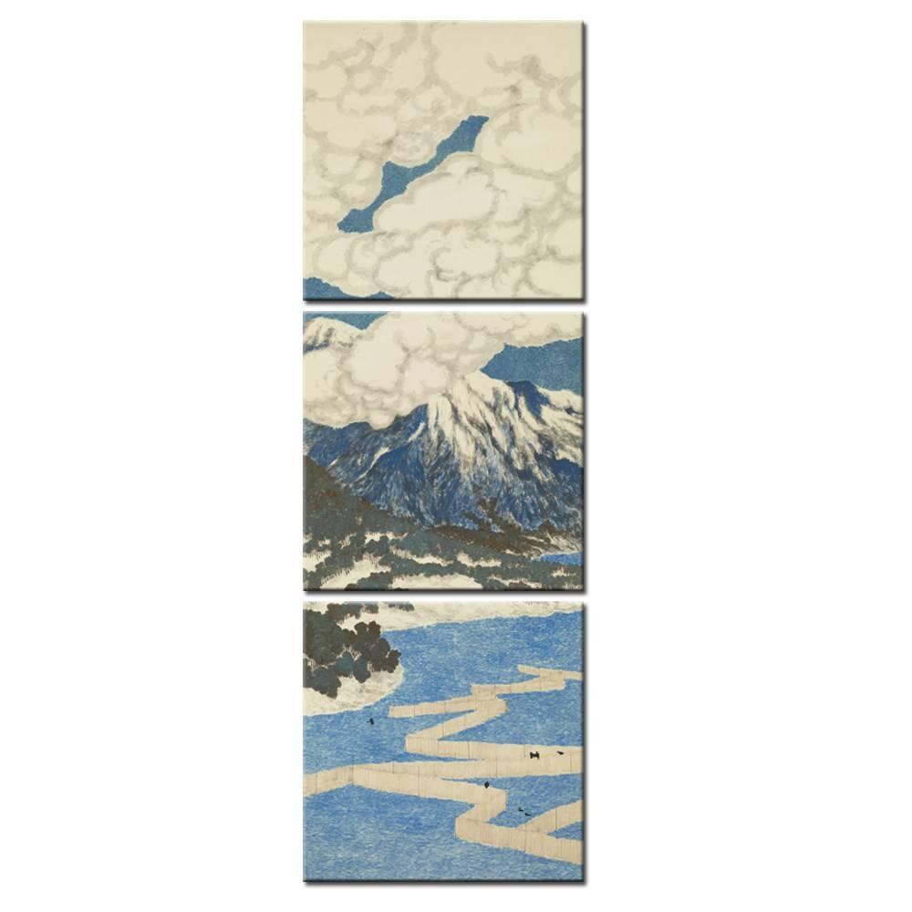 3 Panel Japanese Ukiyo E Seascape Wall Art Painting Mount Fuji Inside Most Up To Date Japanese Wall Art Panels (View 2 of 25)