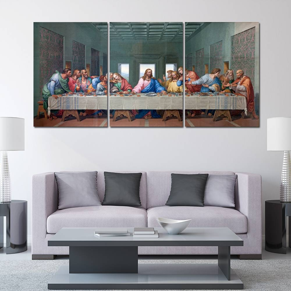 3 Panel Last Supper Painting Modern Home Wall Art Decor Canvas Throughout Most Recently Released Last Supper Wall Art (View 1 of 20)
