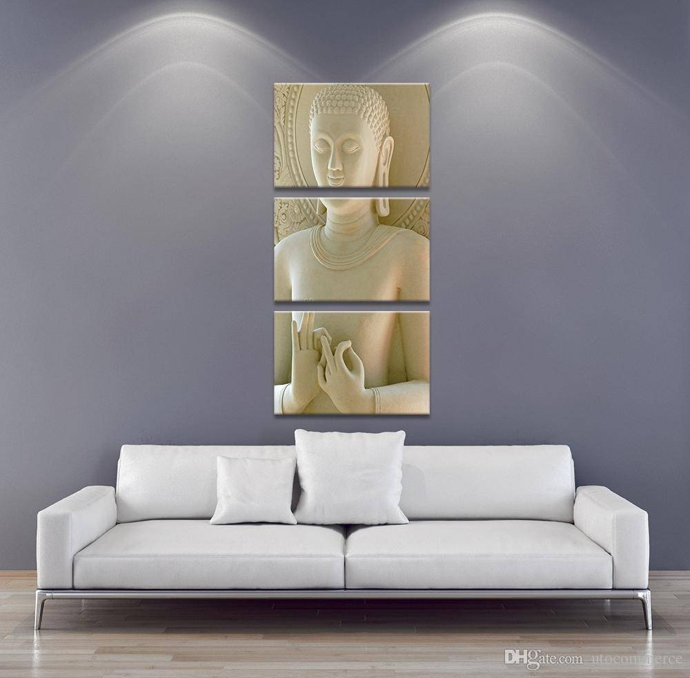 3 Panel Modern Buddha Painting Art White Marble Buddha Vertical Within Most Recently Released 3 Piece Modern Wall Art (Gallery 19 of 20)