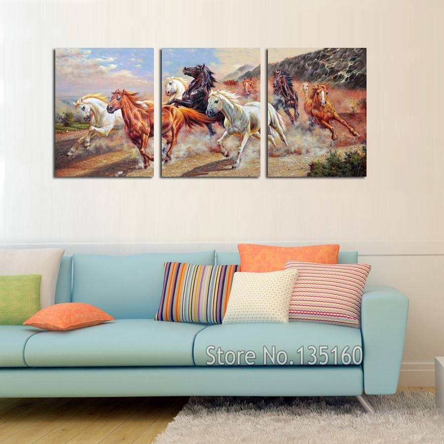 3 Panel Modern Canvas Wall Art Running Horses Painting Wall Regarding Most Recently Released Three Panel Wall Art (View 8 of 20)