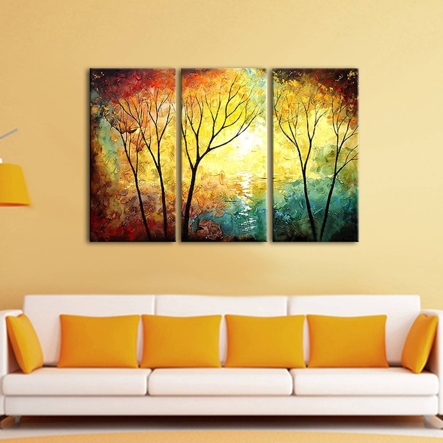 3 Panel Set Wall Art Painting, Yellow Red Tree Oil Painting,oil Inside Most Current Red And Yellow Wall Art (View 7 of 20)