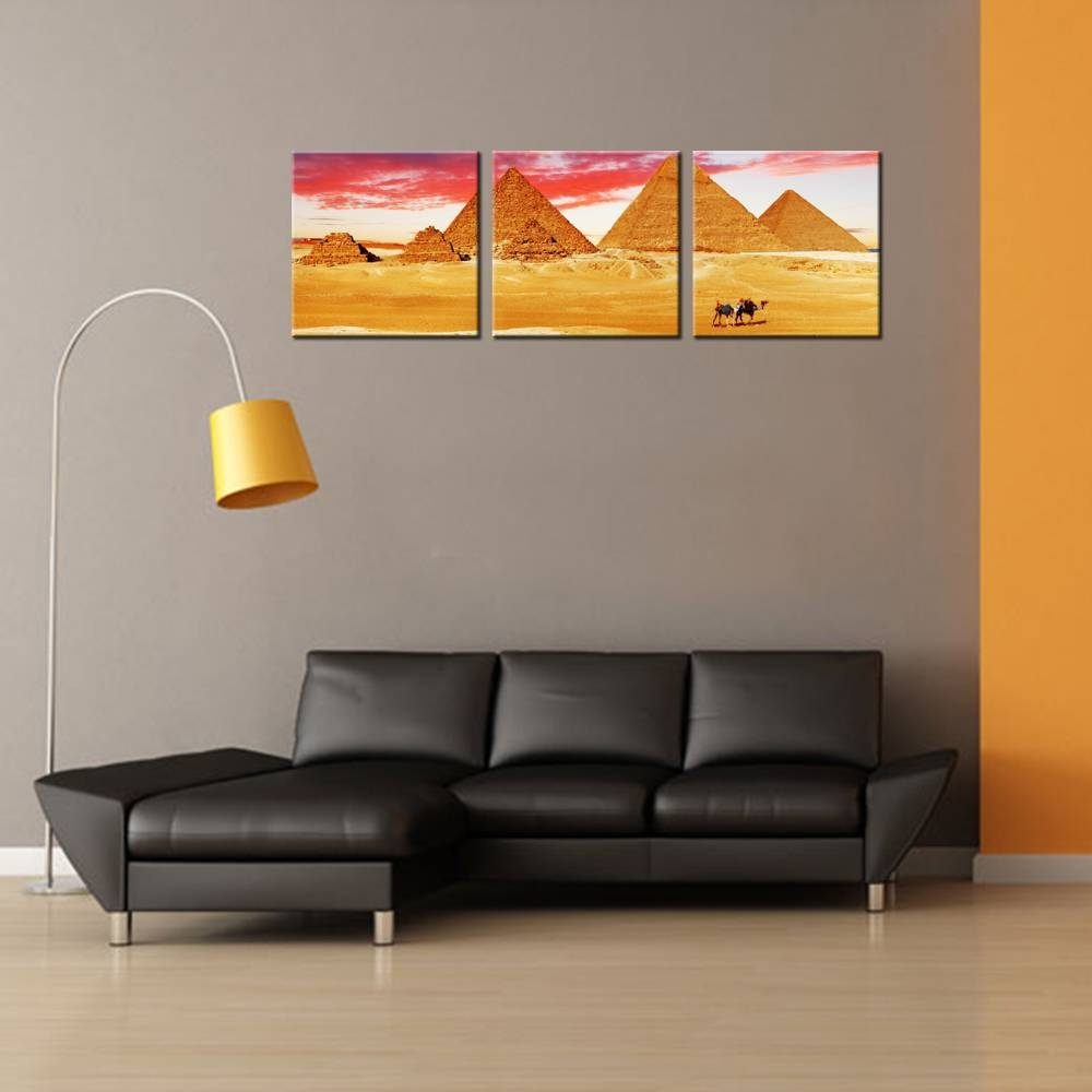 3 Panel Wall Art Ancient Egyptian Pyramids Hd Print Poster Modern In 2017 Three Panel Wall Art (View 10 of 20)