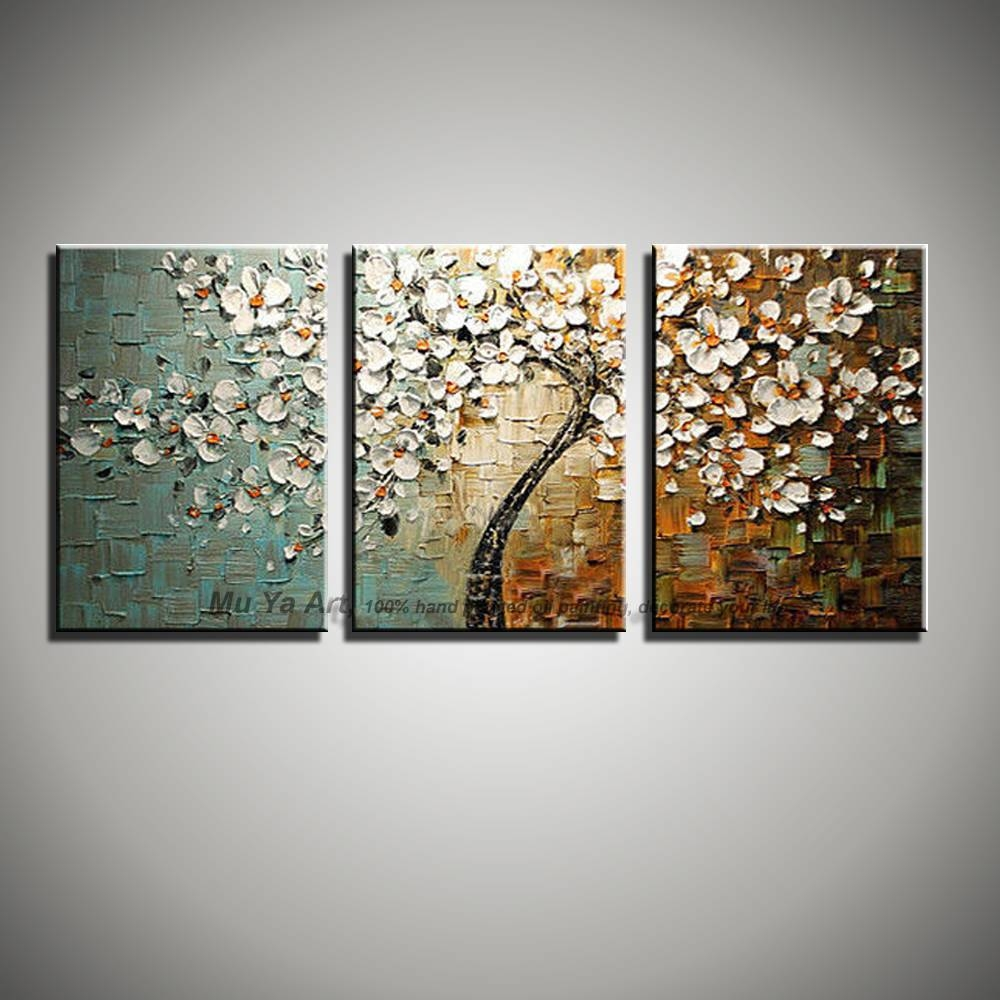 3 Panel Wall Art Canvas Tree Acrylic Decorative Pictures Hand Throughout Most Recent Three Panel Wall Art (View 11 of 20)