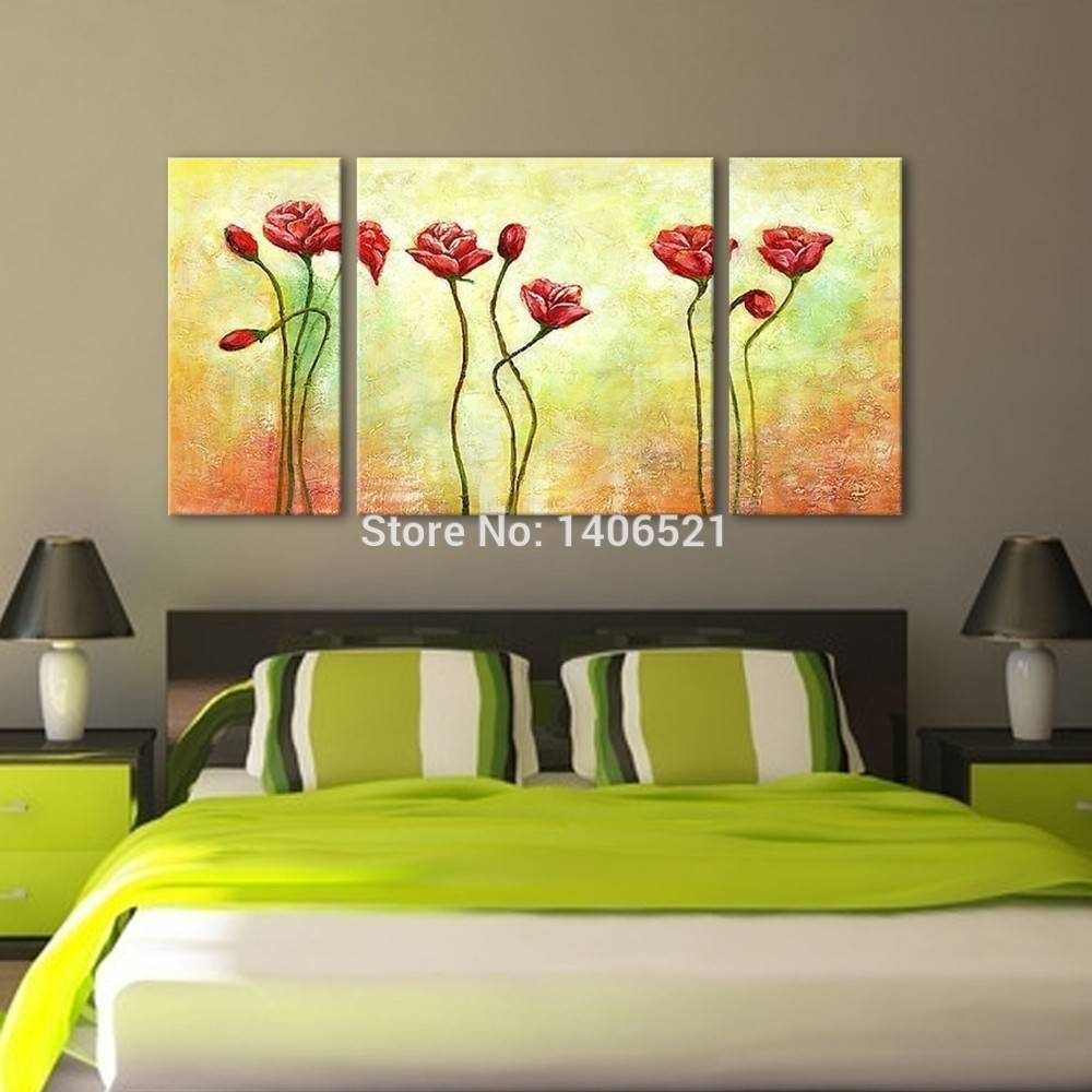 3 Panel Wall Art Feng Shui Flower Handmade Oil Painting On Canvas intended for Recent Feng Shui Wall Art