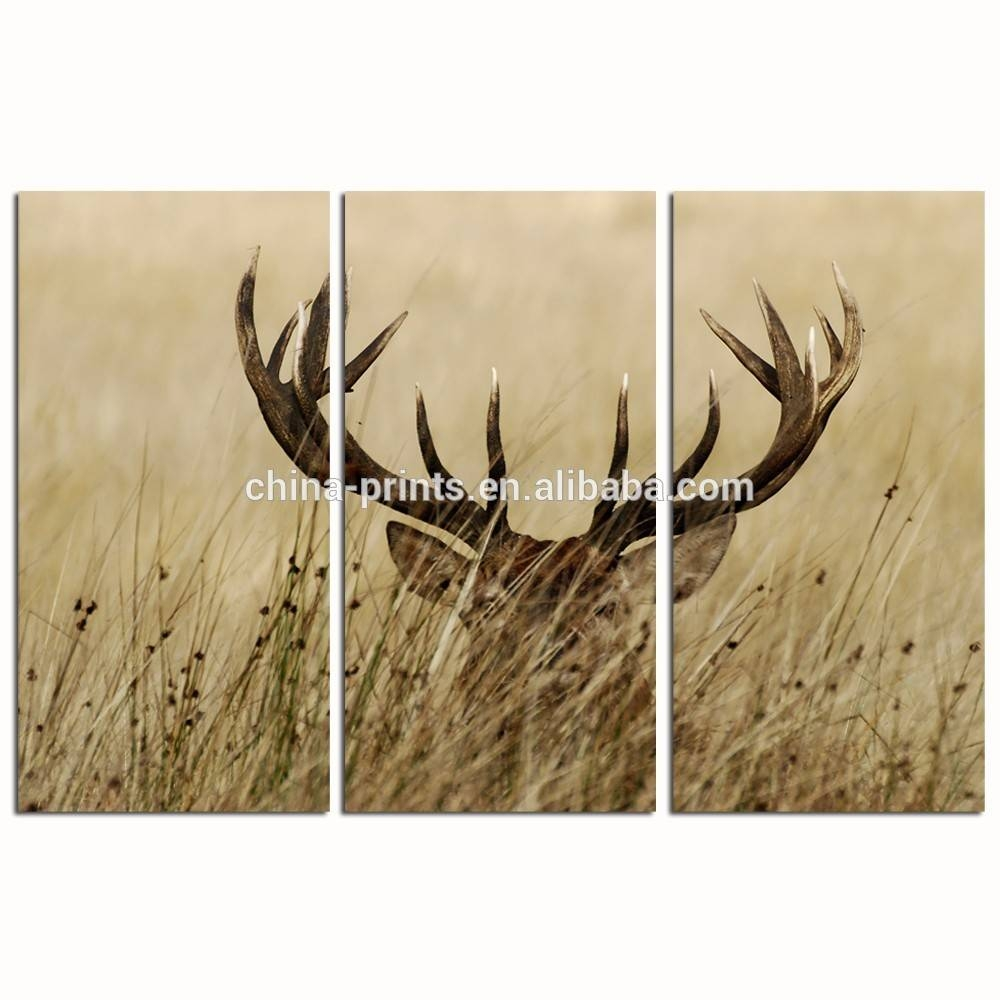 3 Panel Wall Decor Deer Stag Wall Art/home Decor Decoration Animal Inside 2018 Stag Wall Art (View 2 of 20)