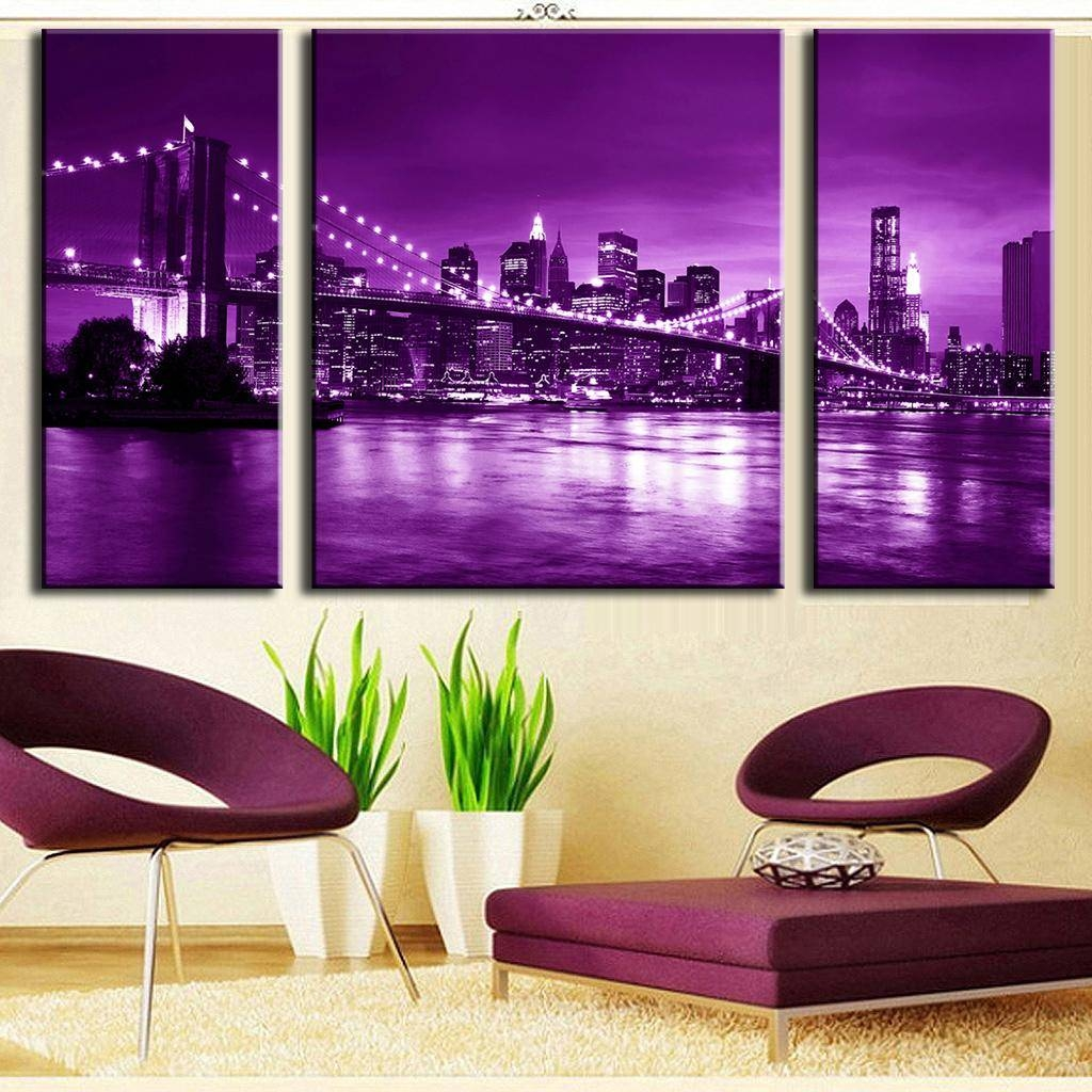 3 Pcs/set Modern Wall Painting Brooklyn Bridge Combined Paintings Within Best And Newest Purple Canvas Wall Art (View 3 of 20)