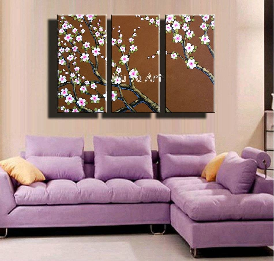 3 Piece Abstract Canvas Wall Art Hand Painted Acrylic Tree Floral Intended For Current 3 Piece Floral Canvas Wall Art (View 11 of 20)