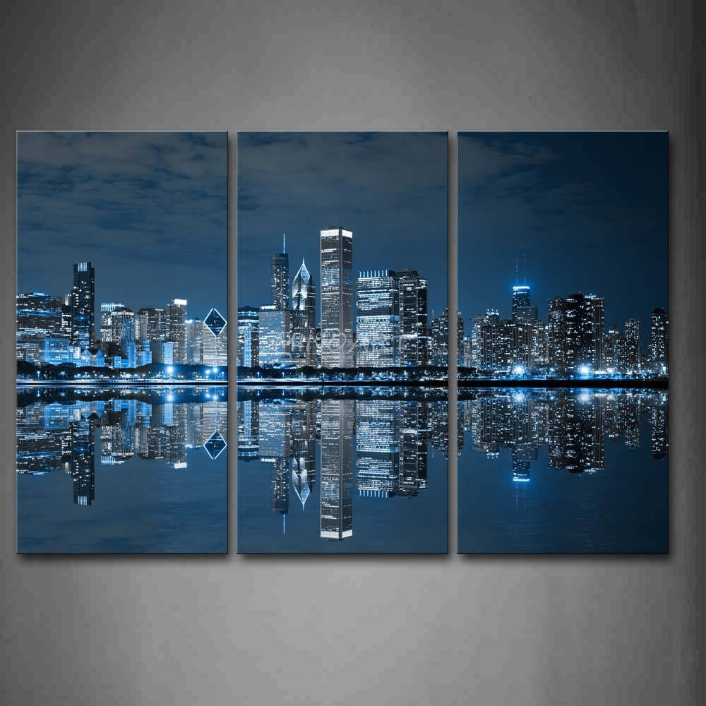 3 Piece Blue Wall Art Painting Cool Buildings In Dark Color In For Current Dark Blue Wall Art (View 5 of 20)