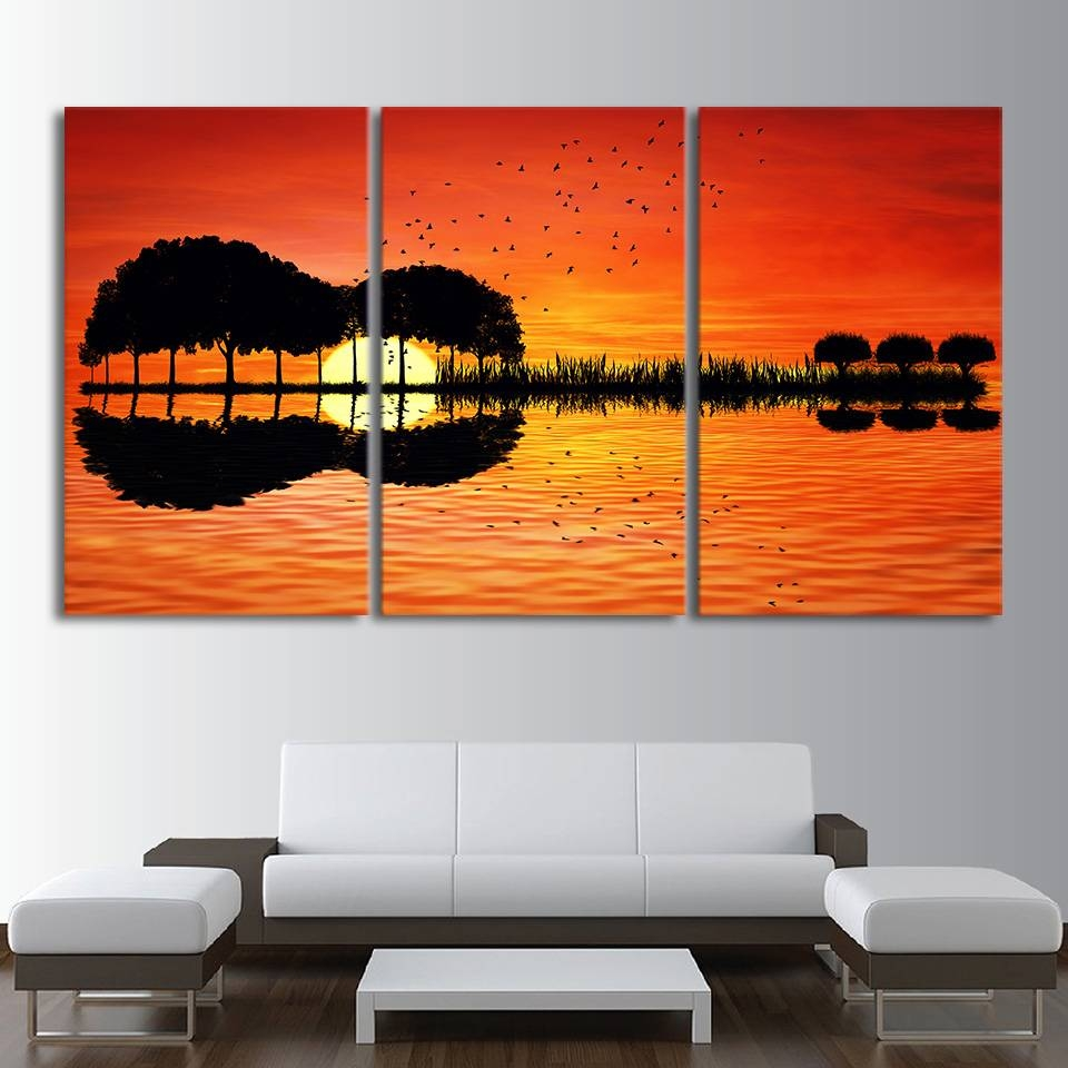 3 Piece Canvas Wall Art Hd Printed Guitar Tree Lake Sunset Inside Recent Guitar Canvas Wall Art (View 3 of 20)
