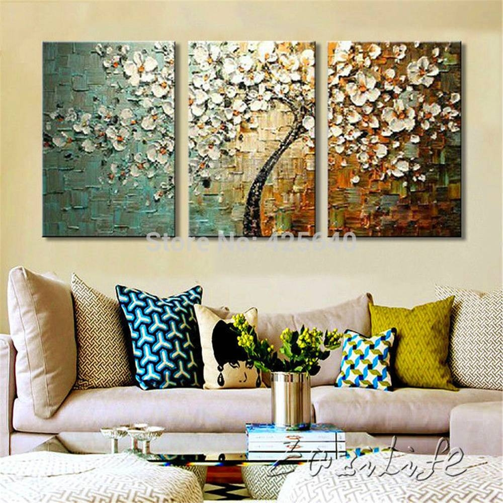 3 Piece Hand Painted Flower Tree Cuadros Oil Painting Wall Art With Most Up To Date Canvas Wall Art 3 Piece Sets (View 3 of 20)