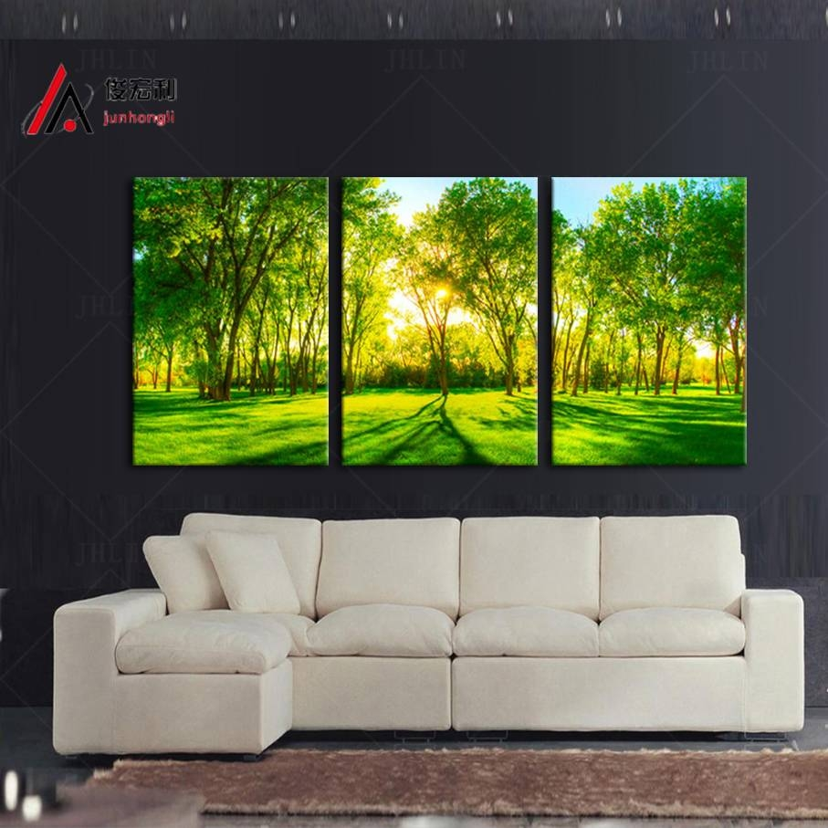 3 Piece Home Decoration Artwork Canvas Print Sunshine Forest Green Inside Latest Huge Wall Art Canvas (View 2 of 20)