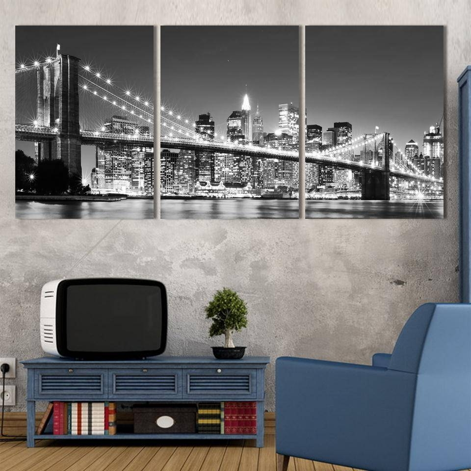 3 Piece Hot Sell Modern Wall Painting New York Brooklyn Bridge throughout Newest 3 Piece Modern Wall Art