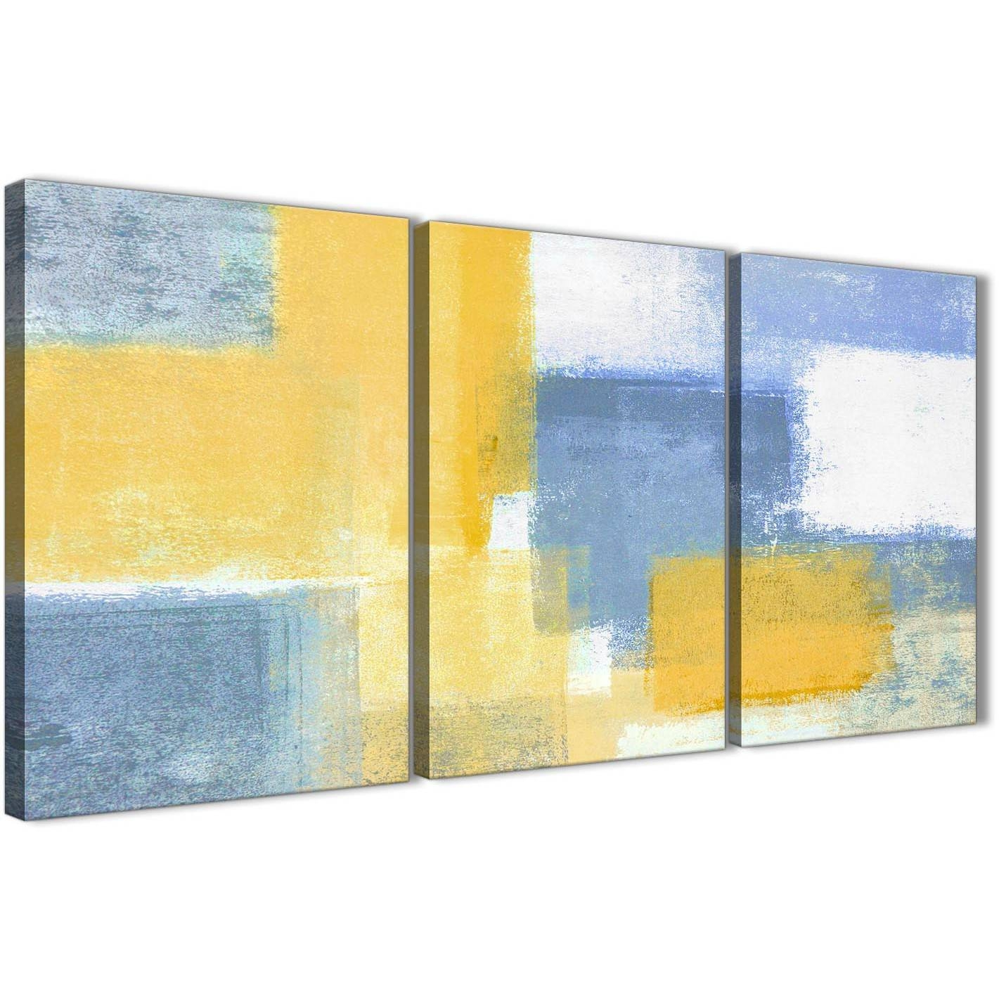 3 Piece Mustard Yellow Blue Kitchen Canvas Pictures Decor Intended For Most Popular Yellow And Blue Wall Art (View 1 of 20)