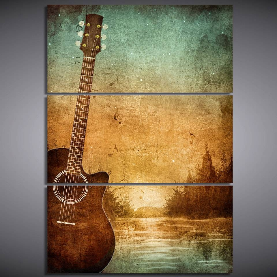 3 Piece Printed Canvas Wall Art Acoustic Guitar Lovers Pictures With Regard To Most Recent Guitar Canvas Wall Art (View 5 of 20)