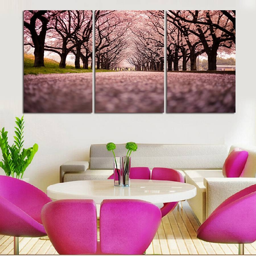 3 Piece The Purple Flower Sea Modern Home Decor Wall Art Canvas Hd For Current 3 Piece Modern Wall Art (View 17 of 20)
