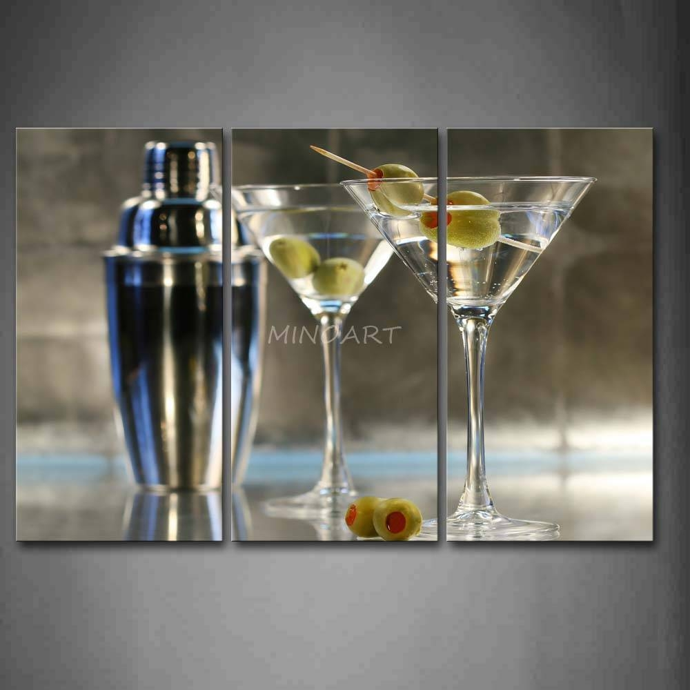 3 Piece Wall Art Painting Cocktail With Glasses And Adjustable Regarding Most Up To Date Martini Glass Wall Art (View 16 of 30)