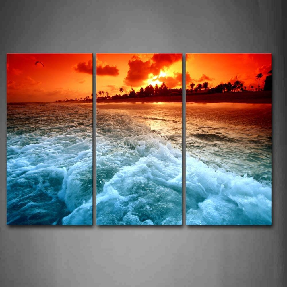 3 Piece Wall Art Painting Huge Wave On Beach At Sunset Picture Throughout Best And Newest 3 Piece Beach Wall Art (View 11 of 30)