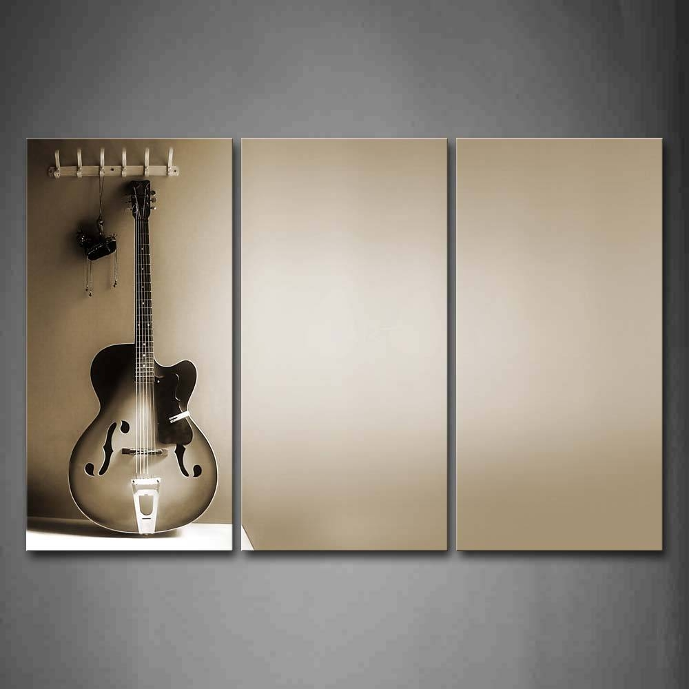 3 Piece Wall Art Painting Noble Guitar And Pendant On The Wall In Recent Guitar Canvas Wall Art (Gallery 6 of 20)