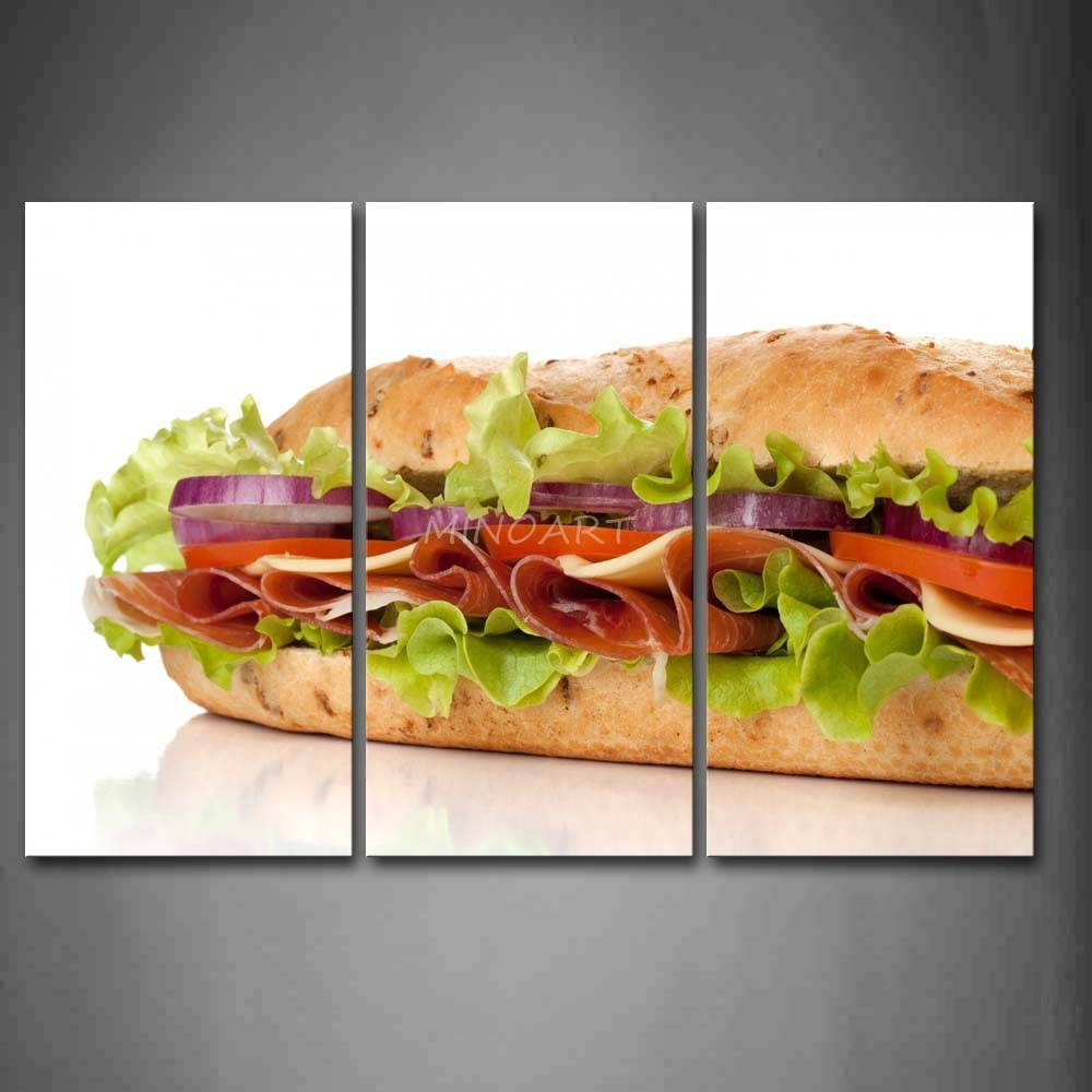 3 Piece Wall Art Painting Sandwich With Vegetable And Meat Picture Intended For Most Recently Released 3 Piece Wall Art (View 5 of 30)
