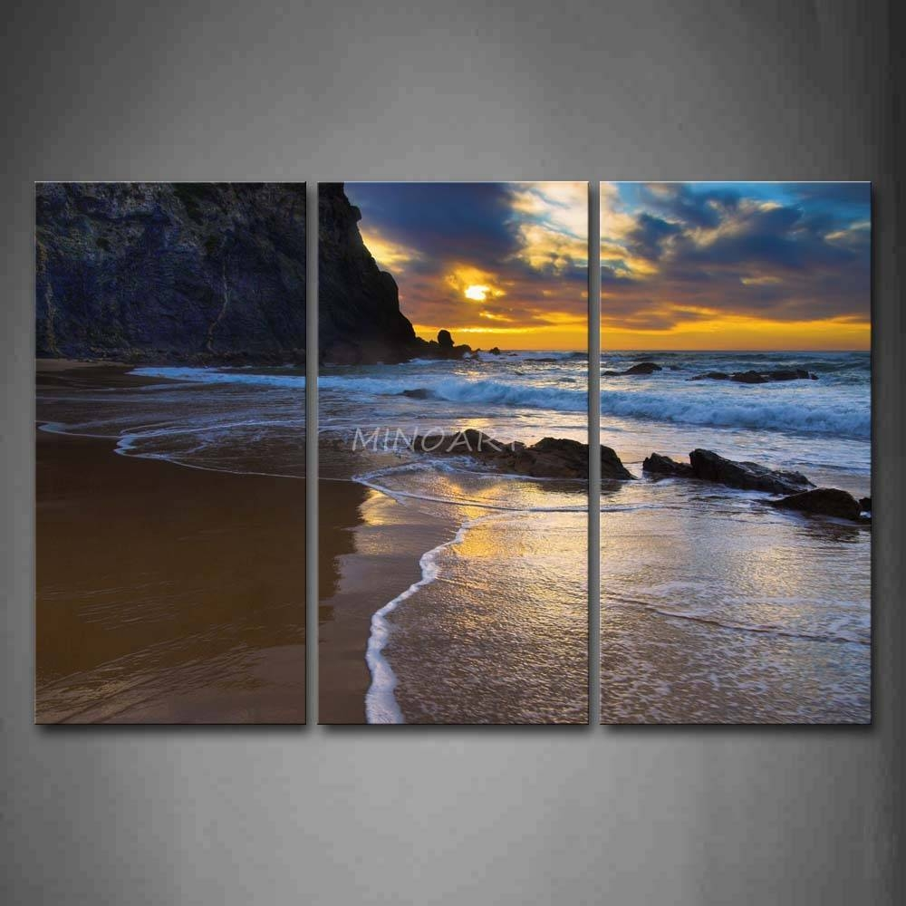 3 Piece Wall Art Painting Sea Waves On Sand Beach With Rocks Print For Most Current 3 Piece Beach Wall Art (View 3 of 30)
