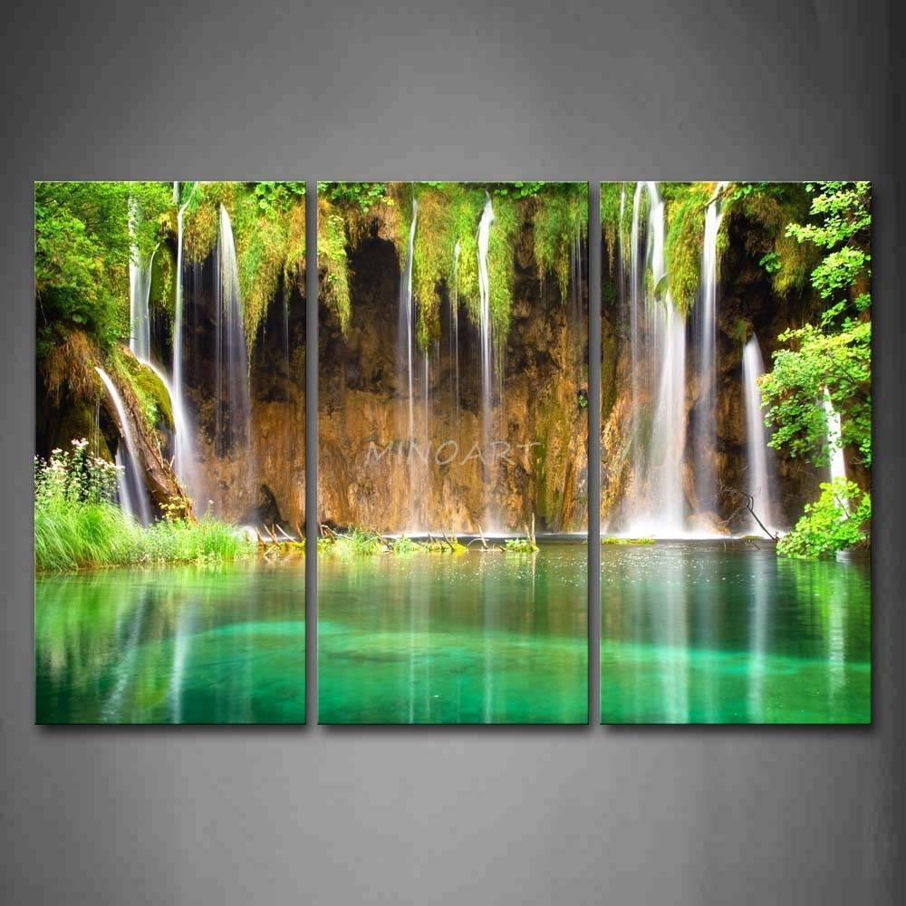 3 Piece Wall Art Painting Waterfall From Small Cliff Plant Green With Regard To Newest Waterfall Wall Art (View 4 of 20)