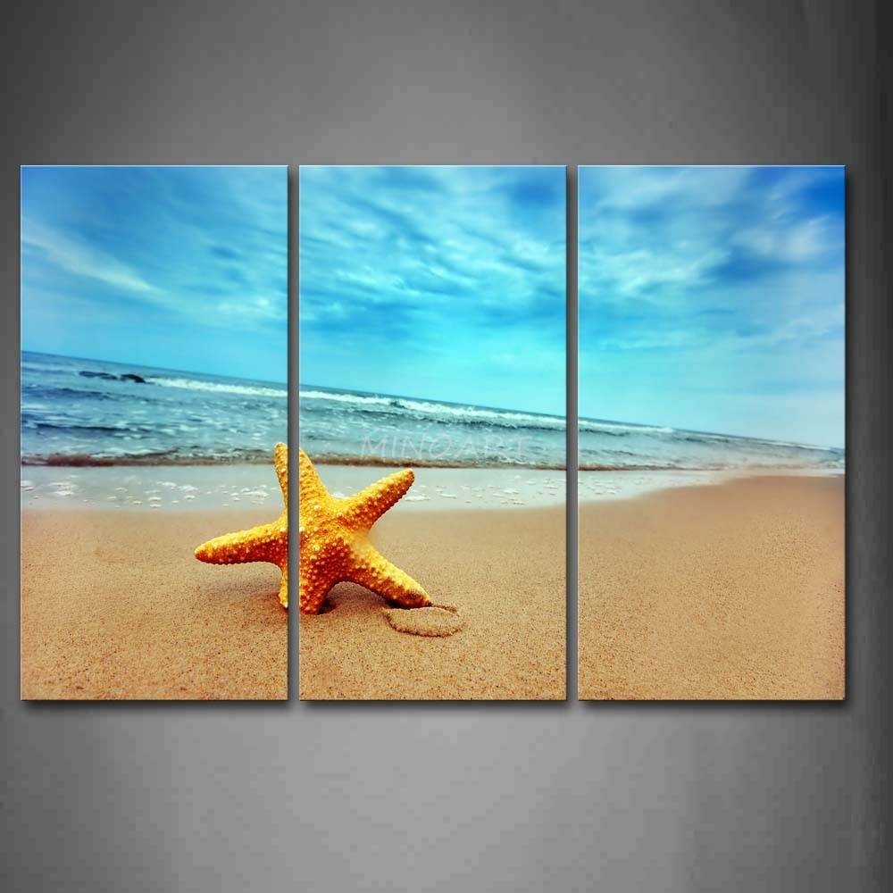 3 Piece Wall Art Painting Yellow Starfish On Beach Print On Canvas For Most Up To Date 3 Piece Beach Wall Art (View 2 of 30)